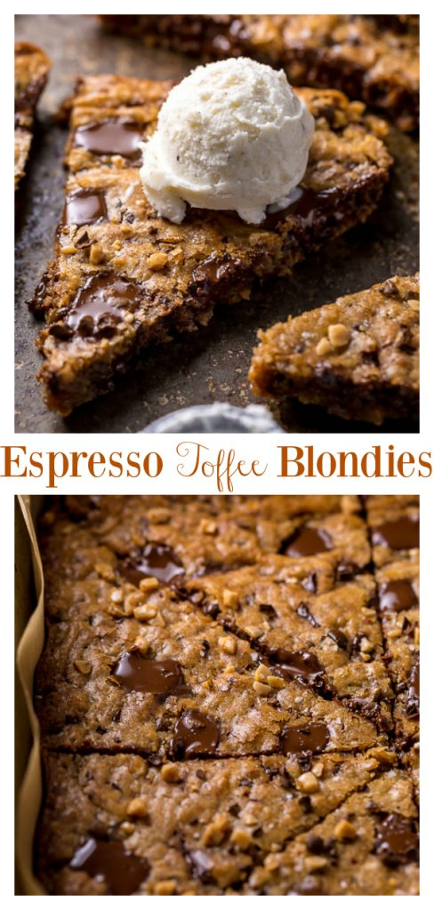 These thick and chewy brown butter espresso toffee blondies are made in one bowl! So easy and SO delicious!