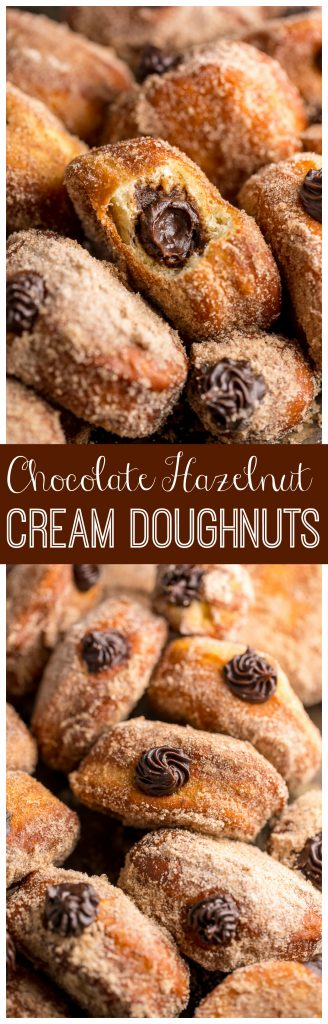 Holy YUM these Chocolate Hazelnut Cream Doughnuts are amazing!
