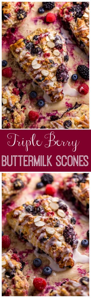 These Bakery-Style Triple Berry Buttermilk Scones are flaky yet moist and so delicious! And they're so easy to make!