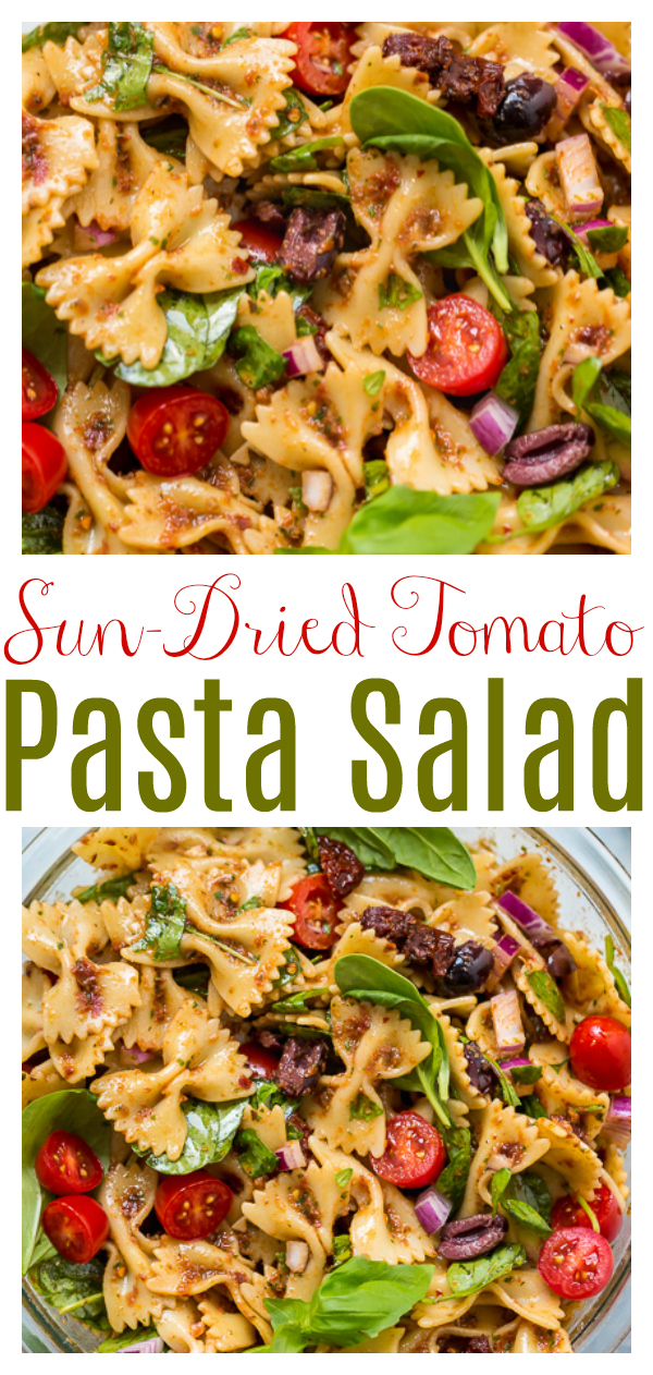 You're going to love this fresh and flavorful Vegan Spinach and Sun-Dried Tomato Pasta Salad! It's so delicious, and can be served cold, warm, or at room temperature.