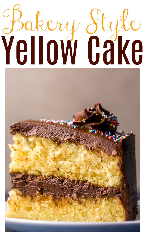 This Classic Yellow Cake with Creamy Chocolate Frosting is so easy and sure to be your new favorite! The layers are moist, buttery, and flavorful, and the creamy milk chocolate frosting basically melts in your mouth. The perfect birthday cake!