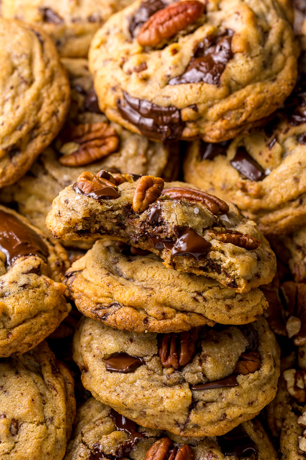 These Brown Butter Bourbon Pecan Chocolate Chunk Cookies are crunchy, chewy, and SO flavorful! You have to try these!