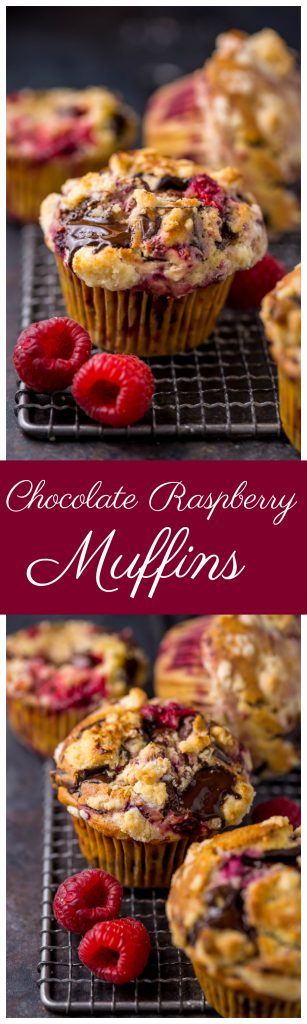 Mmm... these Dark Chocolate Chunk Raspberry Crumb Muffins are so easy and delicious! Perfect for breakfast or brunch.