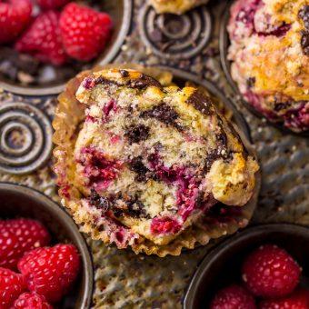 Dark Chocolate Chunk Raspberry Crumb Muffins