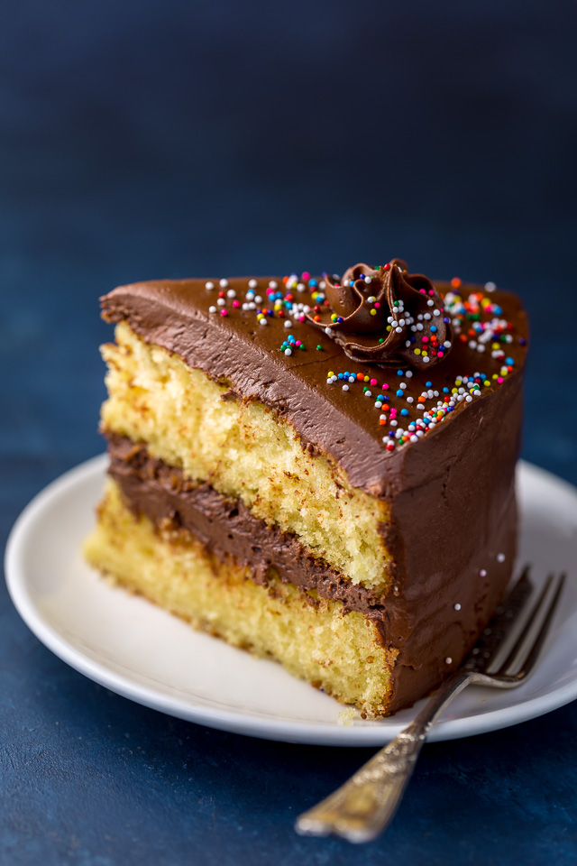 This Classic Yellow Cake with Creamy Chocolate Frosting is sure to be your new favorite recipe!