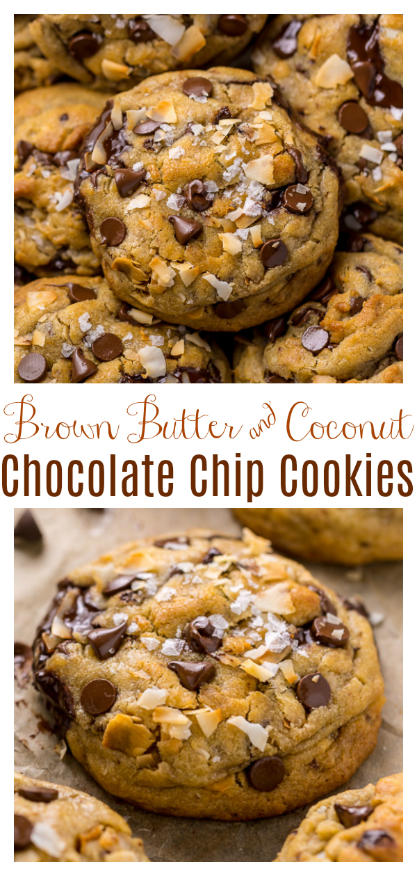 Ultra thick and chewy Brown Butter Coconut Chocolate Chip Cookies! These are so flavorful and freezer friendly! A must try for coconut lovers!