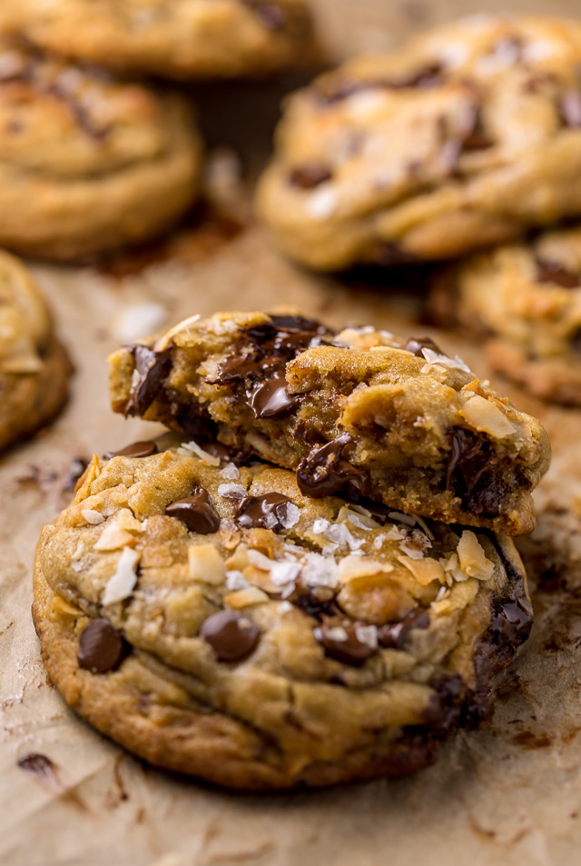 Ultra thick and chewy Brown Butter Coconut Chocolate Chip Cookies! These are so flavorful and freezer friendly!