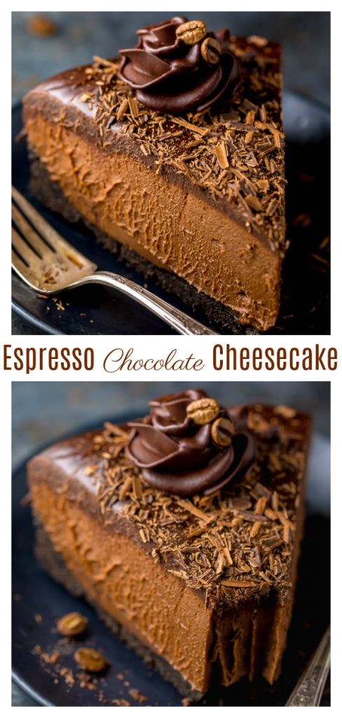 An easy and delicious recipe for No-Bake Espresso Chocolate Cheesecake! So rich and creamy... it's hard to stop at one slice. If you love the flavor combination of coffee and chocolate, you'll love this espresso cheesecake recipe!