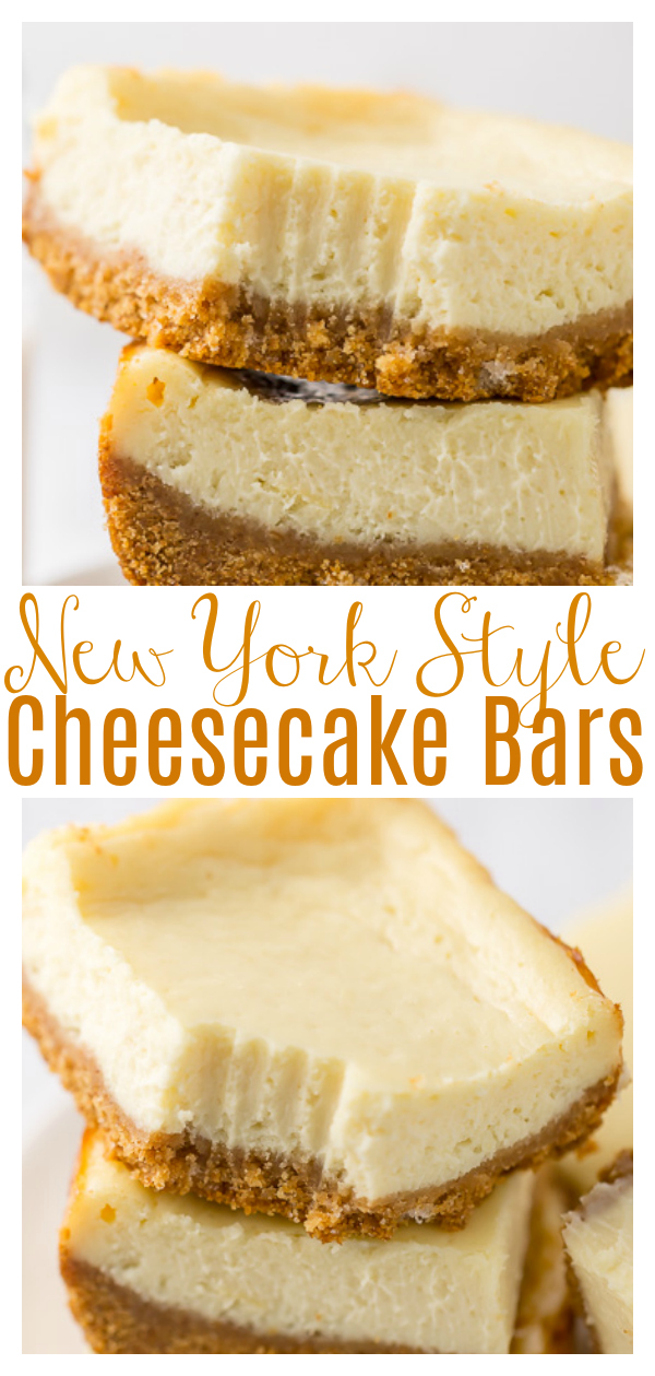 These New York-Style Cheesecake Bars are thick, creamy, and so easy. Perfect for almost any occasion, these easy baked cheesecake bars are always a crowd-pleaser! Freezer friendly!