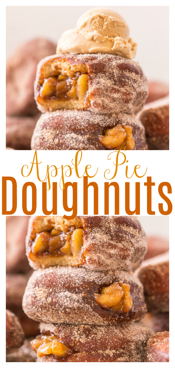 Fluffy Apple Pie Doughnuts are the ULTIMATE Fall treat! And so darn good with a cup of coffee.