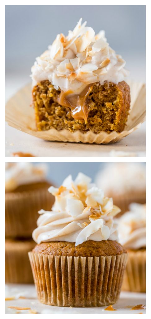 Moist and fluffy Pumpkin Coconut Cupcakes are stuffed with decadent Dulce de Leche and covered in Cinnamon Cream Cheese frosting! So delicious!