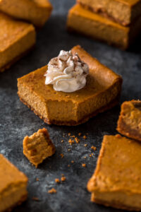 An easy and delicious recipe for Pumpkin Pie Cheesecake Bars! Made with a whole can of pumpkin!!! The best part is this recipe is freezer friendly.