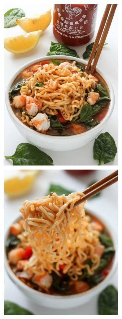 This 20-Minute Sriracha Shrimp Ramen is SO satisfying!!! And easy! #shrimp #ramen #soup #sriracha