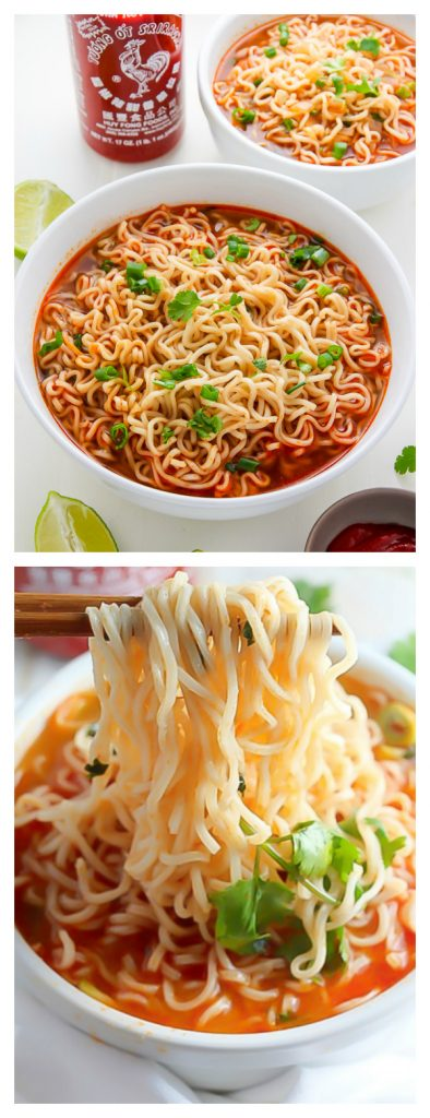 Easy Homemade Ramen Noodle Soup Ready in just 20 minutes! #sriracha #ramen #soup #spicy