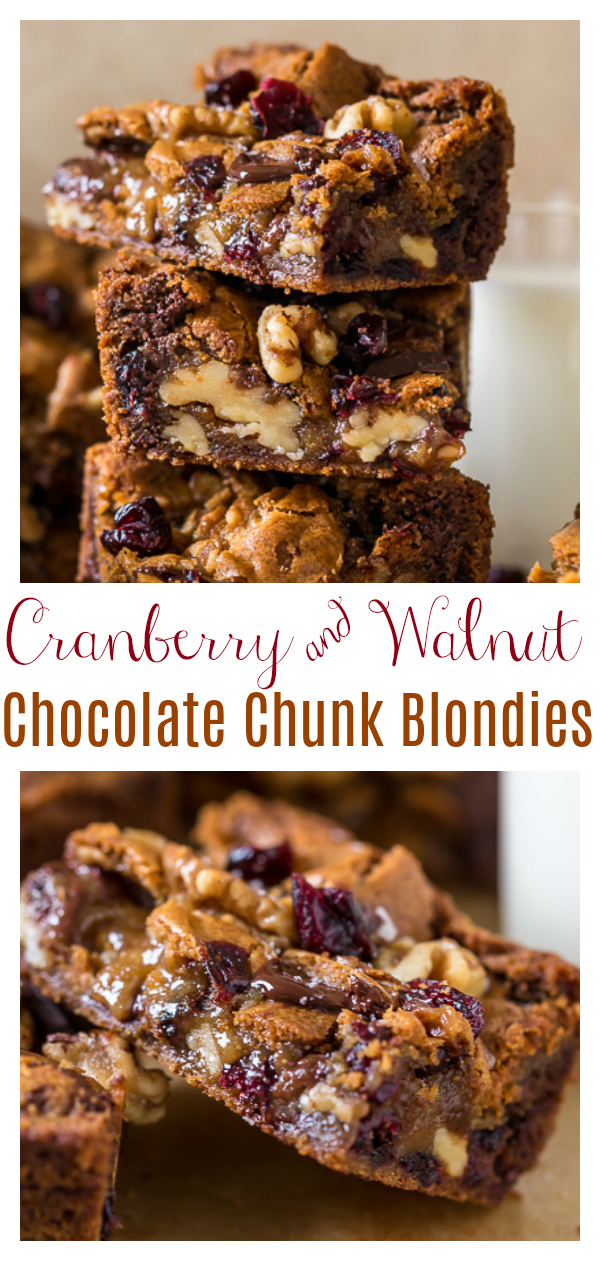 Chocolate Cranberry Walnut Blondies are crunchy, chewy, gooey and so delicious! A super easy blondie recipe that's made in one bowl and so perfect for the holiday celebrations.