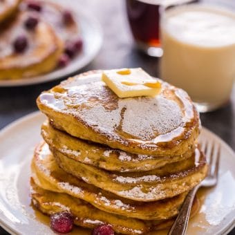 Fluffy and flavorful eggnog pancakes! These are so easy and perfect for Christmas morning!