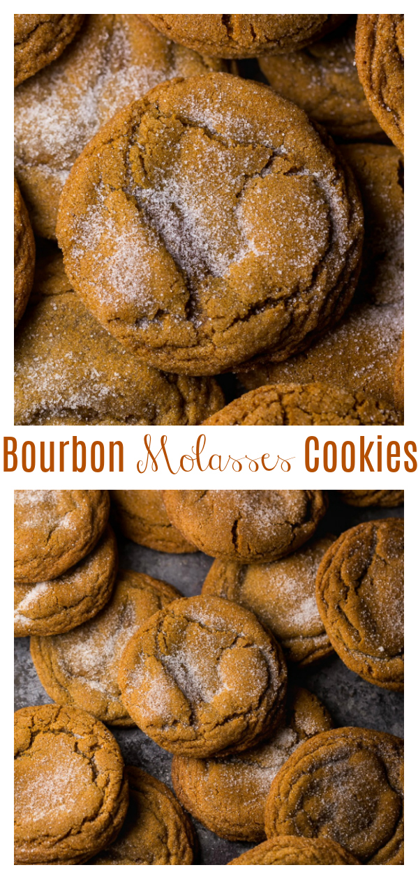 This recipe for soft and chewy Bourbon Molasses Cookies is perfect for the holiday season! Made with brown sugar and festive spices like ginger, cinnamon, cloves, allspice, and even a little black pepper! But it's the bourbon and fresh orange zest that really make these cookies stand out from the rest!