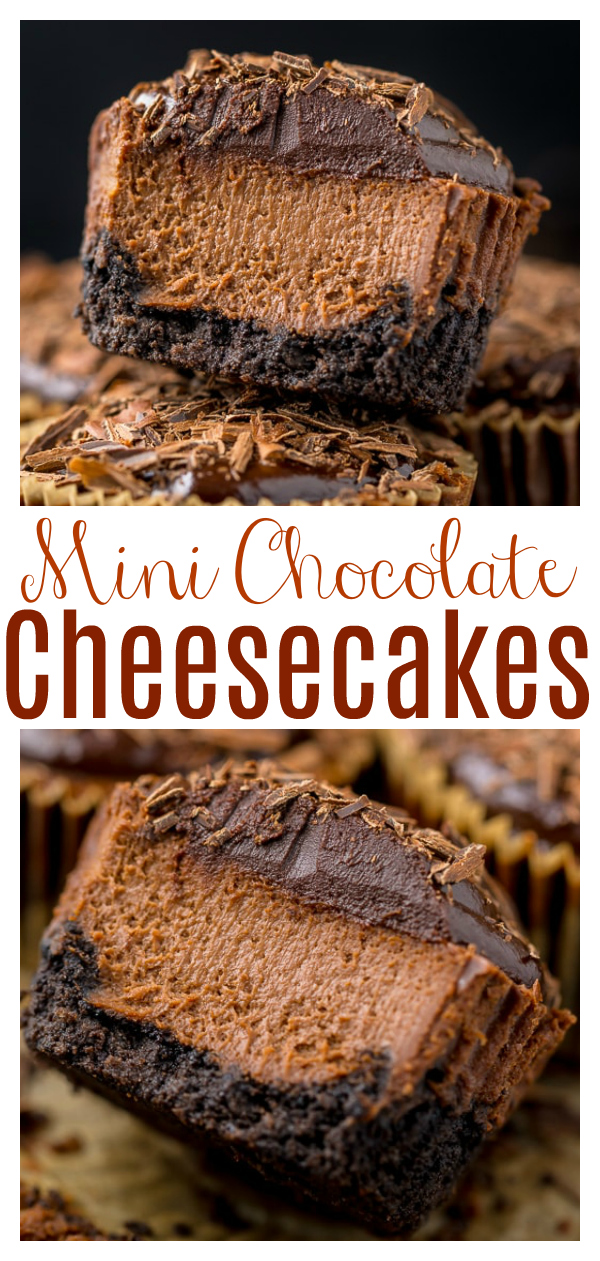 These rich and creamy Mini Chocolate Cheesecakes are made in a muffin pan! So easy and perfect for serving a crowd. Make up to two months in advance and store in the freezer!