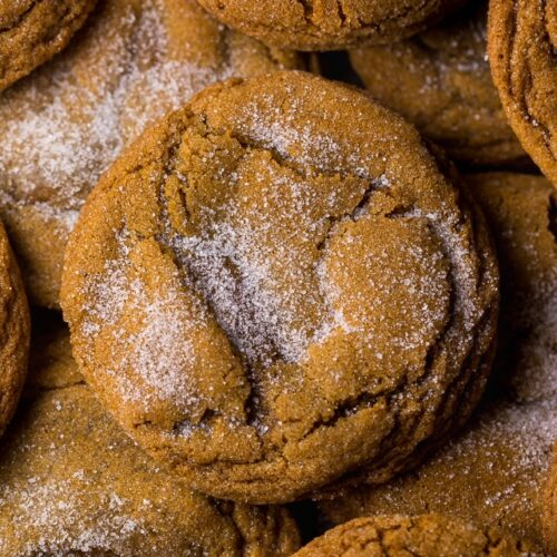 Thick and CHEWY Bourbon Molasses Cookies are perfect for the holidays! Made with brown sugar and plenty of festive spices, these cookies are so soft and flavorful!