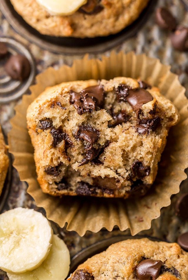Healthy Banana Chocolate Chip Muffins - Baker by Nature