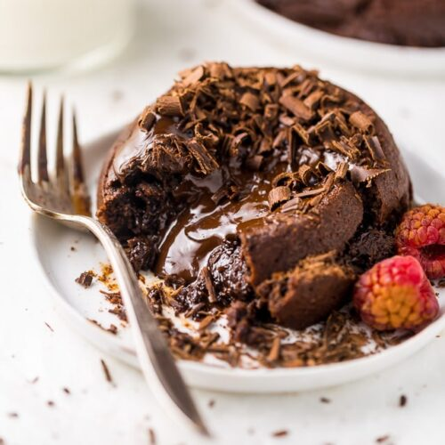 These Easy Molten Chocolate Lava Cakes for Two are so delicious and perfect for Valentine's Day! A rich, decadent, and romantic chocolate dessert recipe anyone can make at home!