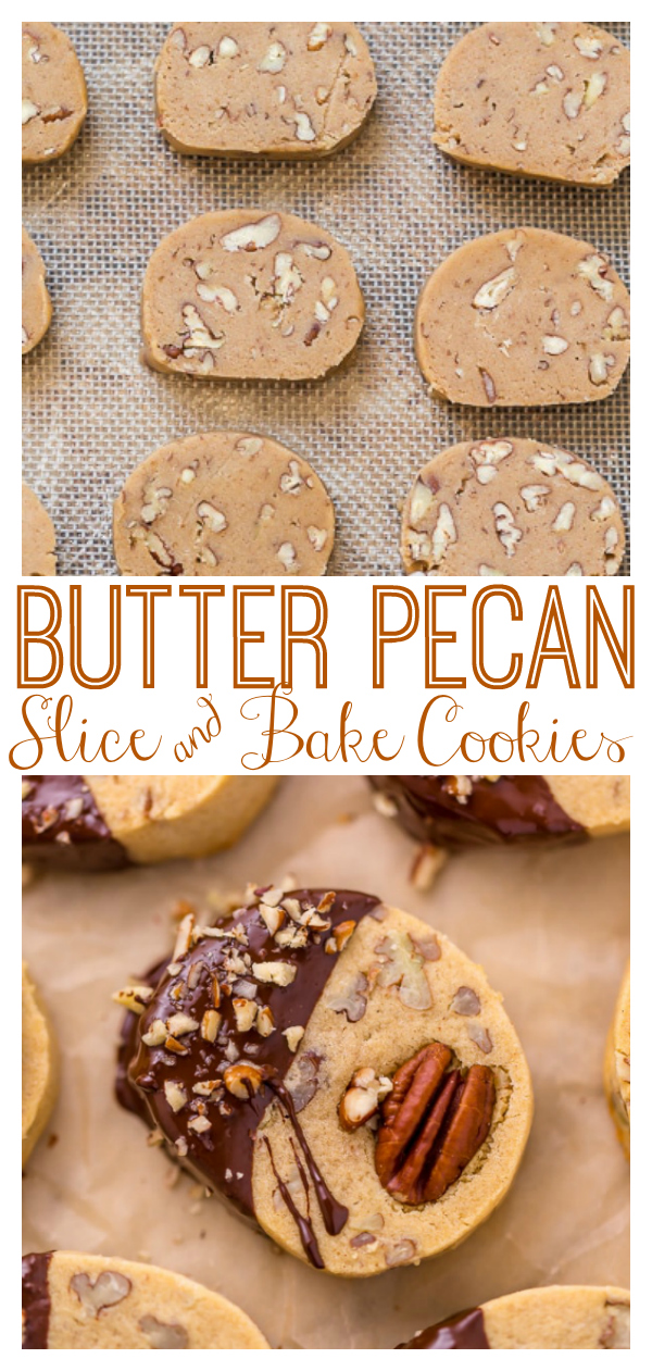 These delicious Butter Pecan Slice and Bake Cookies are so easy and made with just 7 ingredients! These buttery shortbread cookies are loaded with crunchy pecans and then dunked in sweet chocolate. These cookies are so good with a cup of coffee or tea!