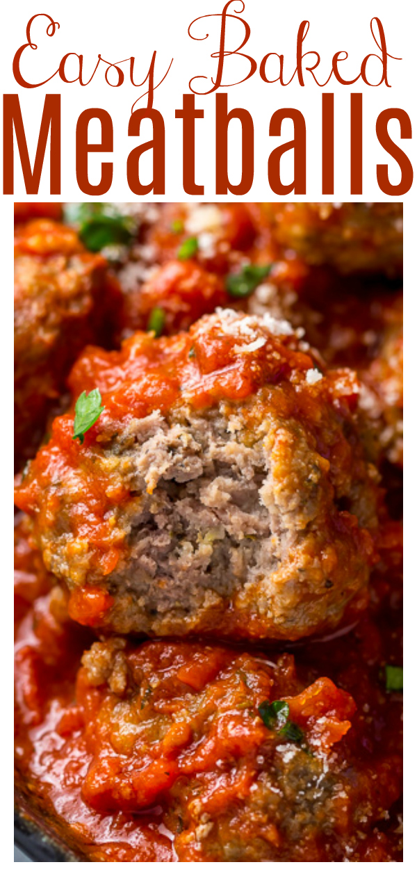 If you've been looking for a simple recipe for Easy Baked Meatballs, you'll love this one! Made with ground beef, Parmesan cheese, plenty of spices, eggs, breadcrumbs, and water, they're juicy and flavorful. Once you try this easy meatball recipe, you'll never want to make them another way!