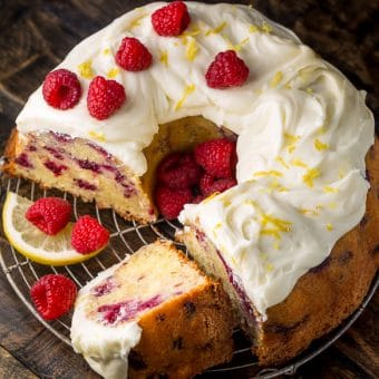 Moist and sunshiny sweet, this Lemon Raspberry Bundt Cake is so perfect for Easter or Mother's Day brunch! Loaded with fresh lemon zest, lemon juice, and raspberries, this cake is loaded with flavor. Perfect for breakfast, brunch, or dessert!