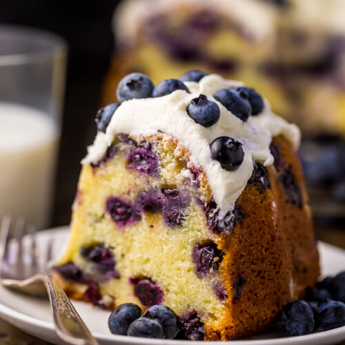 An easy and delicious recipe for The BEST Blueberry Bundt Cake! This cake is so moist, buttery, and bursting with juicy blueberries! It's perfect for brunch and pairs well with coffee or tea.