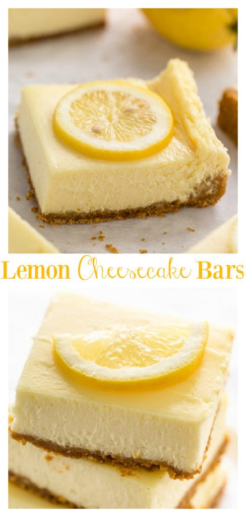 Easy Lemon Cheesecake Bars are perfect for almost any occasion! Made with fresh lemon juice, lemon zest, cream cheese, and sour cream, they're tangy, sweet, and so delicious. If you love lemon and cheesecake, you have to try this recipe!