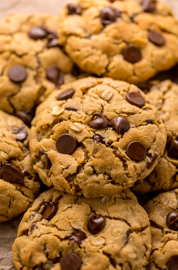 These Peanut Butter Oatmeal Chocolate Chip Cookies are so thick and chewy! Loaded with creamy peanut butter flavor, old-fashioned oats, and chocolate chips, these are a must try for peanut butter lovers! You don't have to chill the cookie dough, which makes this recipe quick and easy to bake.