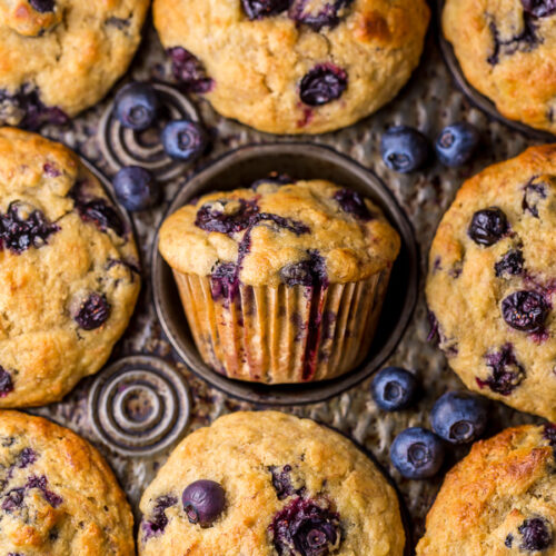 Healthy Greek Yogurt and Honey Blueberry Muffins are moist, fluffy, and subtly sweet! We love this healthy blueberry muffin recipe for breakfast or as a snack! The protein packed Greek yogurt makes these muffins moist and the honey makes them delightfully sweet.