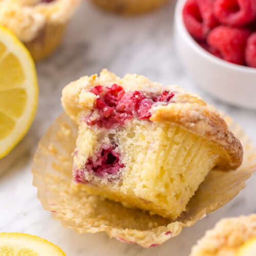 Moist and sunshiny sweet, these Lemon Raspberry Crumb Muffins are so good with a cup of coffee! Loaded with fresh raspberries and bursting with real lemon flavor, these are a must try for any lemon and raspberry lover!