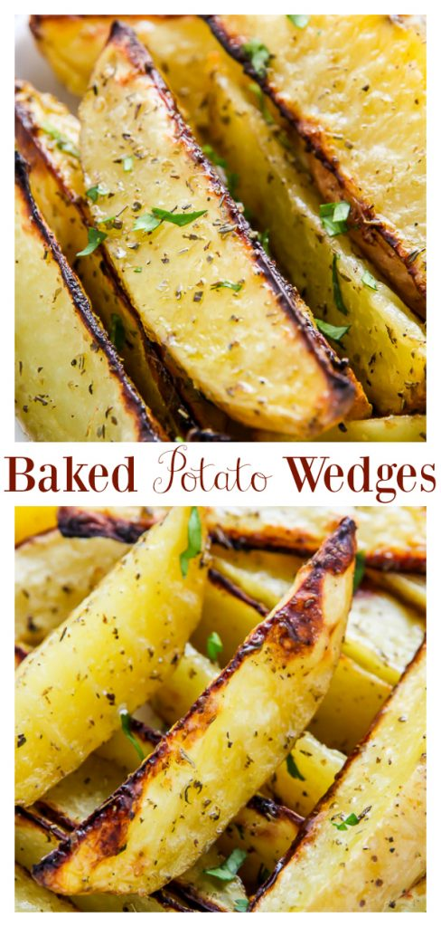These Extra Crispy Baked Garlic & Herb Wedges are so flavorful! Pair them with burgers, steak, or seafood! Just be sure to make enough, because these Garlic and Herb Wedges are always a crowd-pleaser!