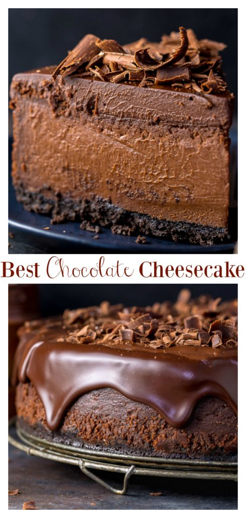 This Ultimate Chocolate Cheesecake features a chocolate cookie crust, creamy chocolate cheesecake filling, chocolate ganache, and shaved chocolate! Made with basic ingredients you probably have in your kitchen right now. Simply put, this is the best chocolate cheesecake recipe you'll ever try!