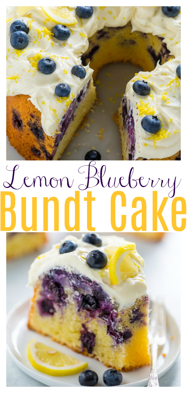 Lemon Blueberry Bundt Cake... Aka how to use up your abundance of blueberries this Summer!!! Topped with lemon cream cheese frosting and extra blueberries, this is a great Summer dessert. Everyone loves this!