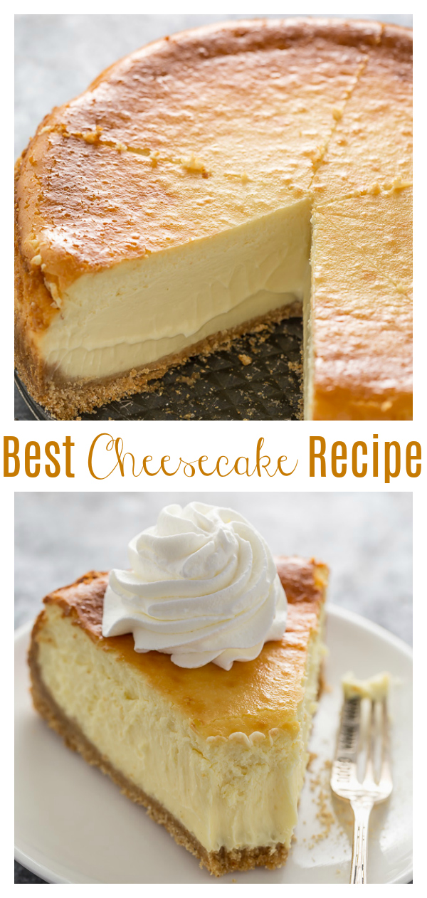 If you're anything like me, there's nothing better than sinking your fork into a thick slice of extra rich and creamy cheesecake! This version reminds me of the classic Cheesecake Factory cheesecake... but even better! Featuring a crunchy graham cracker crust and silky smooth cream cheese filling, this recipe will make everyone think you're a pro baker!