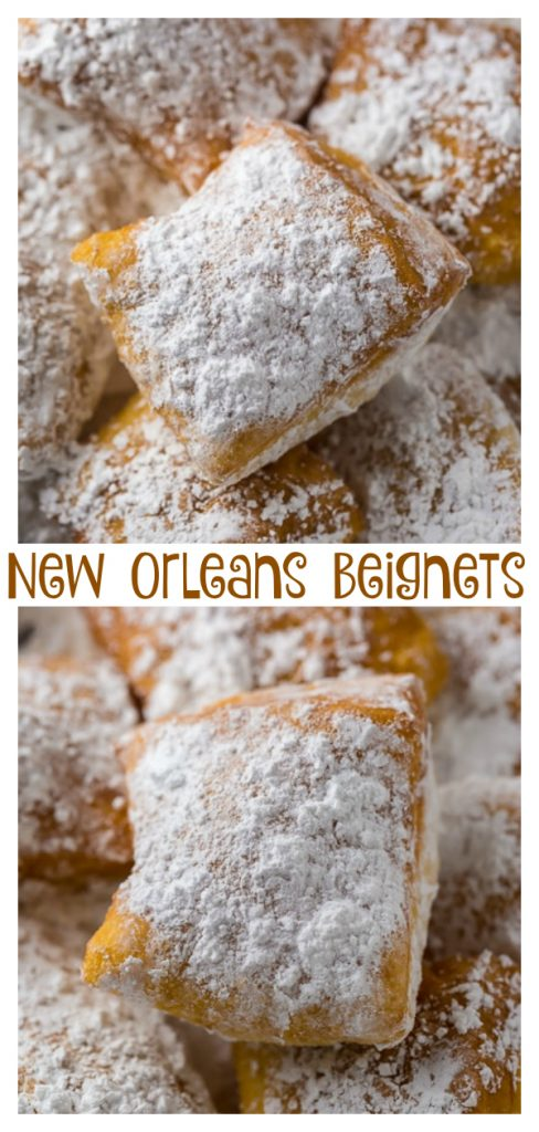 Beignets covered in powdered sugar.
