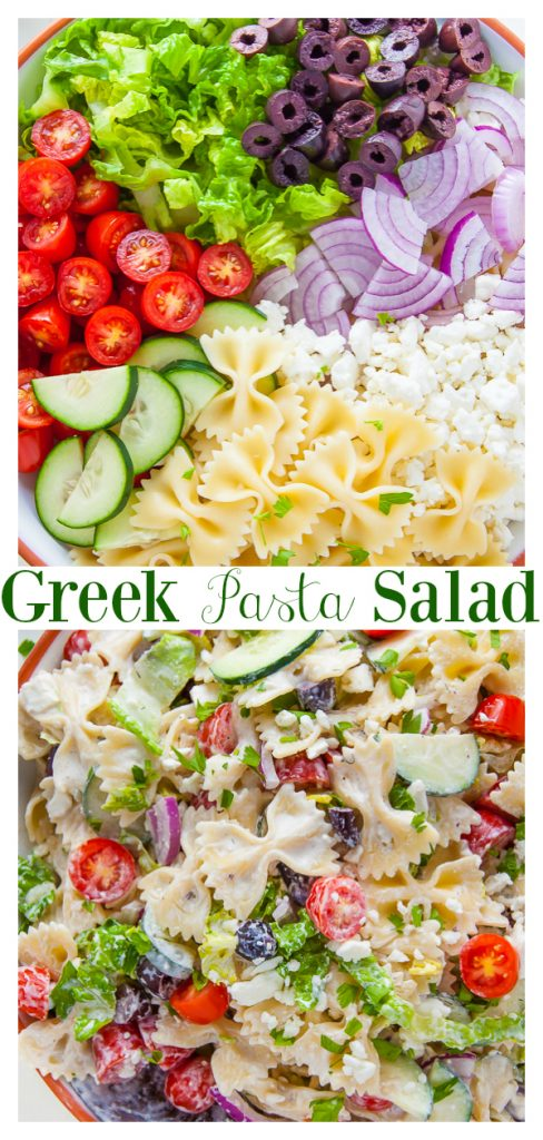 This 20-Minute Greek Pasta Salad is loaded with fresh veggies, Kalamata olives, and tangy feta cheese! Add some grilled chicken or shrimp to make it a heartier meal. A crowd-pleasing side dish perfect for Summer parties, potlucks, and picnics.