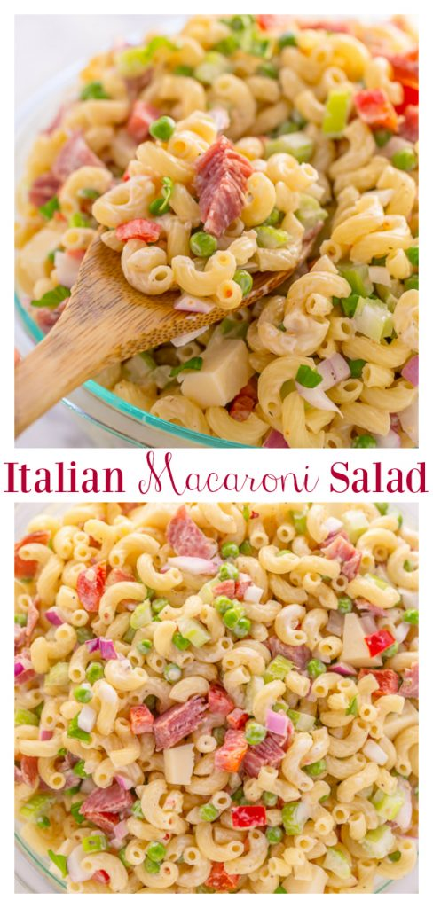 This Easy Italian Macaroni Salad Recipe features elbow noodles, bell peppers, celery, onion, sharp provolone, and salami! And the dressing is so creamy and flavorful! This is the perfect macaroni salad for parties, picnics, and backyard bbqs.
