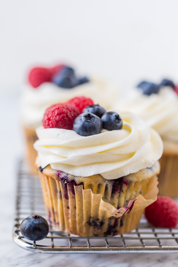 These Red, White and Blueberry Cupcakes are light, fluffy, and so festive! Perfect for patriotic holidays like Memorial Day, the Fourth of July and Labor Day!