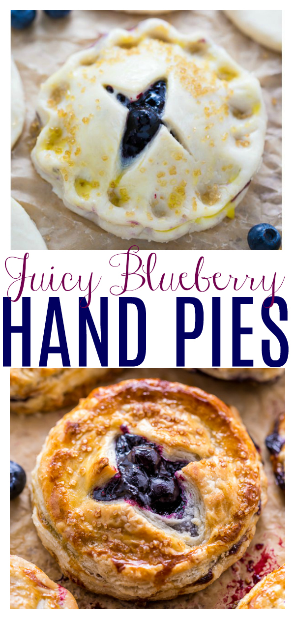 These Blueberry Hand Pies bake up golden brown and oozing with juicy blueberry filling! Perfect for serving a crowd. And so much easier than traditional blueberry pie!