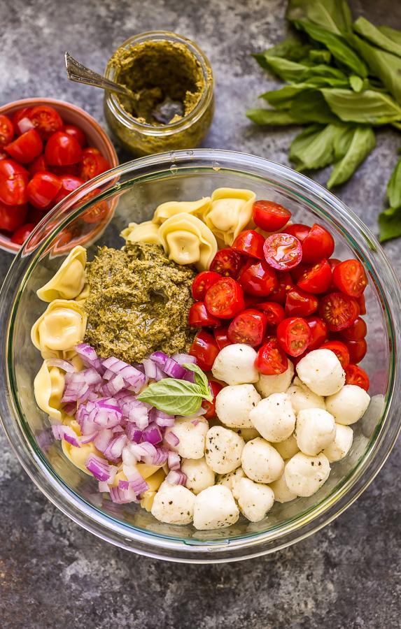 Pasta Salad Ingredients in bowl.