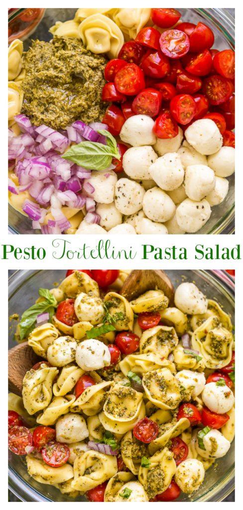 Pesto Tortellini Pasta Salad made with 5 ingredients!