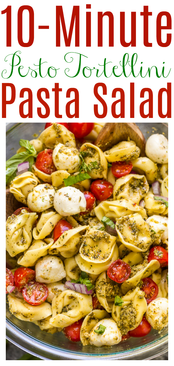 This Easy Pesto Tortellini Pasta Salad is ready in about 10 minutes! Made with just basic 5 ingredients you probably have in the kitchen right now! This is the perfect side dish for Summer parties, picnics, or potlucks!!!