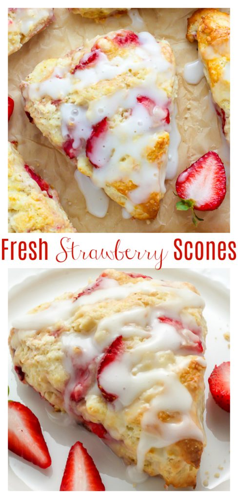 Strawberries and Cream Scones are tender, flaky, and bursting with fresh strawberries in every bite! Serve warm, with extra glaze or clotted cream on the side. This is the perfect recipe for occasions like Mother's Day or Easter brunch!