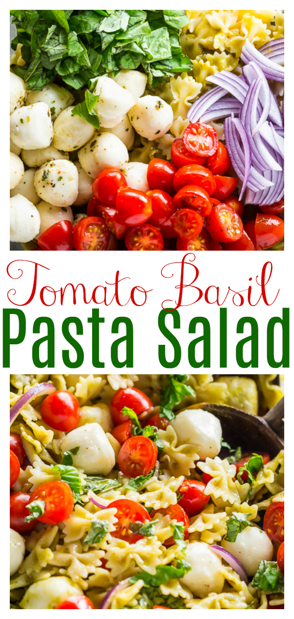 This 20-Minute Tomato, Basil, and Mozzarella Pasta Salad is fresh, fast, and so flavorful! The perfect quick and easy Summer Pasta Salad recipe. Make it for your next party, picnic, or BBQ!