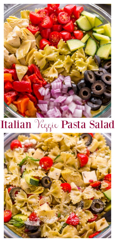 This Easy Italian Veggie Pasta Salad is simple to prepare and perfect for Summer! This recipe is easily adaptable and serves a crowd. So it's the perfect side dish for parties, potlucks, and large get togethers!