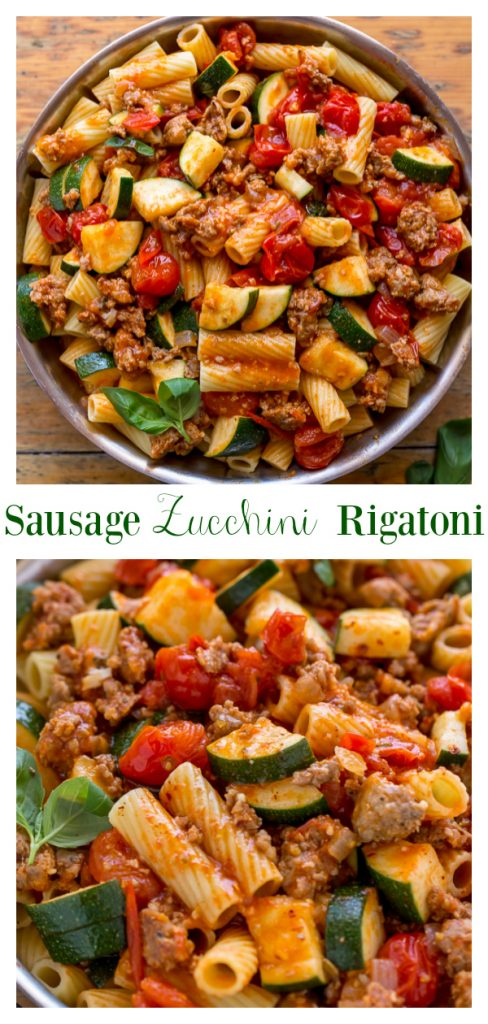 Calling all pasta lovers! This hearty Rigatoni with Sausage, Tomatoes, and Zucchini is for you! It's so flavorful and easy enough to make on a weeknight!