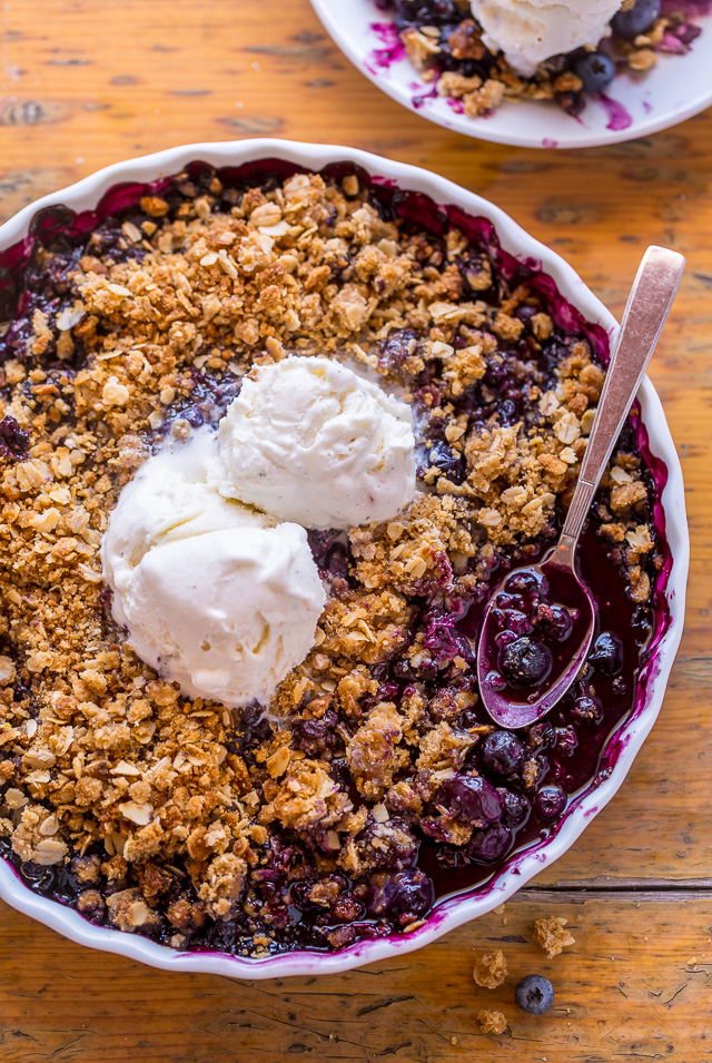 Blueberry Crisp with Ice Cream on Top.
